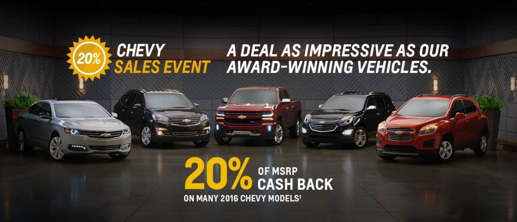 20% of MSRP Cash Back on Select Chevrolet Models. Now through July 8th