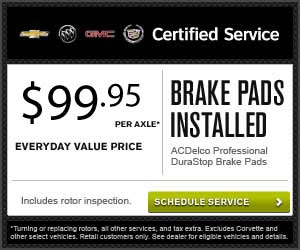 Brake Pads installed for $99.95 per axle. Certified Service.